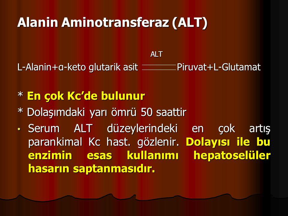 Alanin Aminotransferaz (ALT) ALT ALT L-Alanin+α-keto glutarik asit Piruvat+L-Glutamat * En çok Kc'de bulunur * Dolaşımdaki yarı ömrü 50 saattir Serum ALT düzeylerindeki en çok artış parankimal Kc hast.
