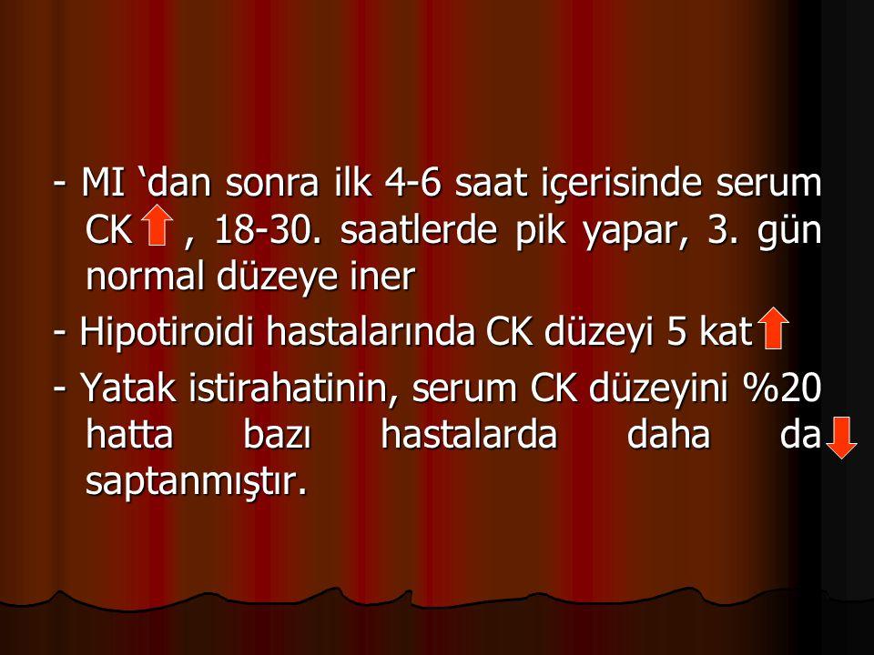 - MI 'dan sonra ilk 4-6 saat içerisinde serum CK, 18-30.