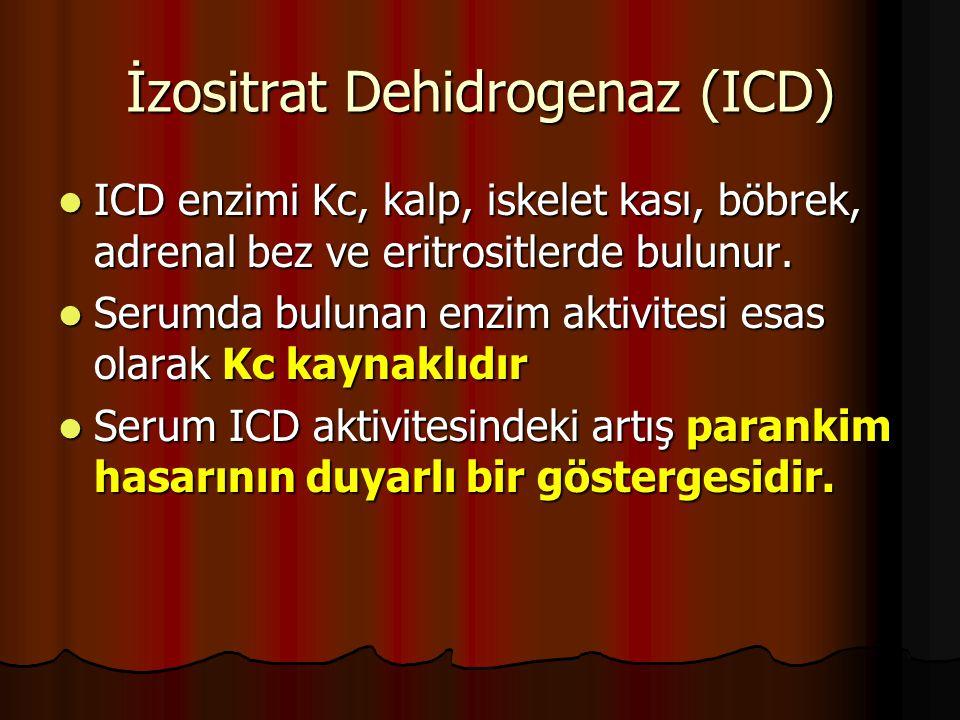 İzositrat Dehidrogenaz (ICD) ICD enzimi Kc, kalp, iskelet kası, böbrek, adrenal bez ve eritrositlerde bulunur.