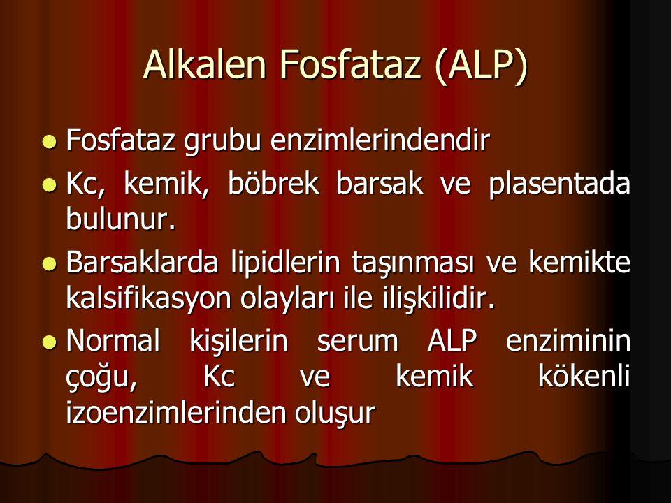 Alkalen Fosfataz (ALP) Fosfataz grubu enzimlerindendir Fosfataz grubu enzimlerindendir Kc, kemik, böbrek barsak ve plasentada bulunur.