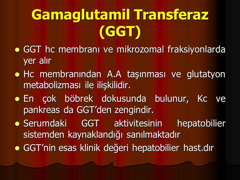 Gamaglutamil Transferaz (GGT) GGT hc membranı ve mikrozomal fraksiyonlarda yer alır GGT hc membranı ve mikrozomal fraksiyonlarda yer alır Hc membranından A.A taşınması ve glutatyon metabolizması ile ilişkilidir.