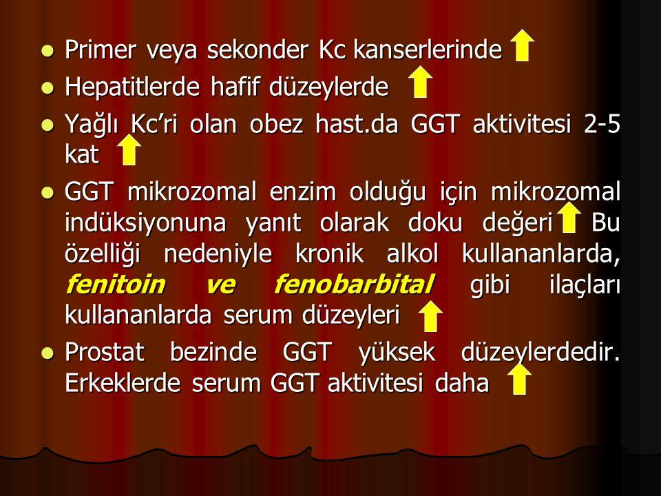 Primer veya sekonder Kc kanserlerinde Primer veya sekonder Kc kanserlerinde Hepatitlerde hafif düzeylerde Hepatitlerde hafif düzeylerde Yağlı Kc'ri olan obez hast.da GGT aktivitesi 2-5 kat Yağlı Kc'ri olan obez hast.da GGT aktivitesi 2-5 kat GGT mikrozomal enzim olduğu için mikrozomal indüksiyonuna yanıt olarak doku değeri Bu özelliği nedeniyle kronik alkol kullananlarda, fenitoin ve fenobarbital gibi ilaçları kullananlarda serum düzeyleri GGT mikrozomal enzim olduğu için mikrozomal indüksiyonuna yanıt olarak doku değeri Bu özelliği nedeniyle kronik alkol kullananlarda, fenitoin ve fenobarbital gibi ilaçları kullananlarda serum düzeyleri Prostat bezinde GGT yüksek düzeylerdedir.