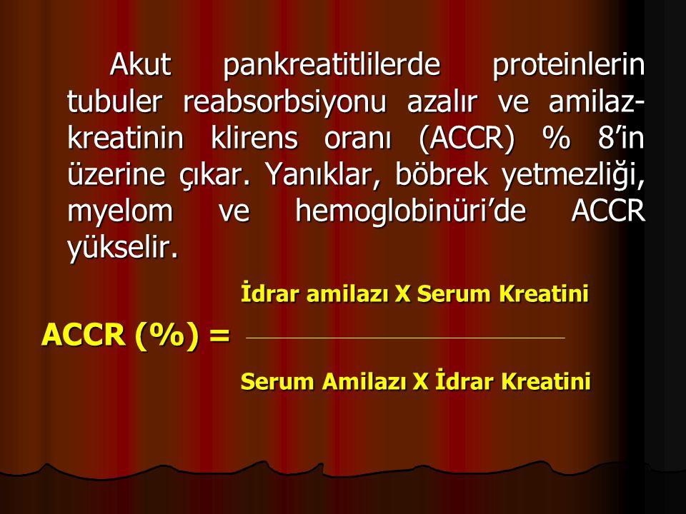 Akut pankreatitlilerde proteinlerin tubuler reabsorbsiyonu azalır ve amilaz- kreatinin klirens oranı (ACCR) % 8'in üzerine çıkar.