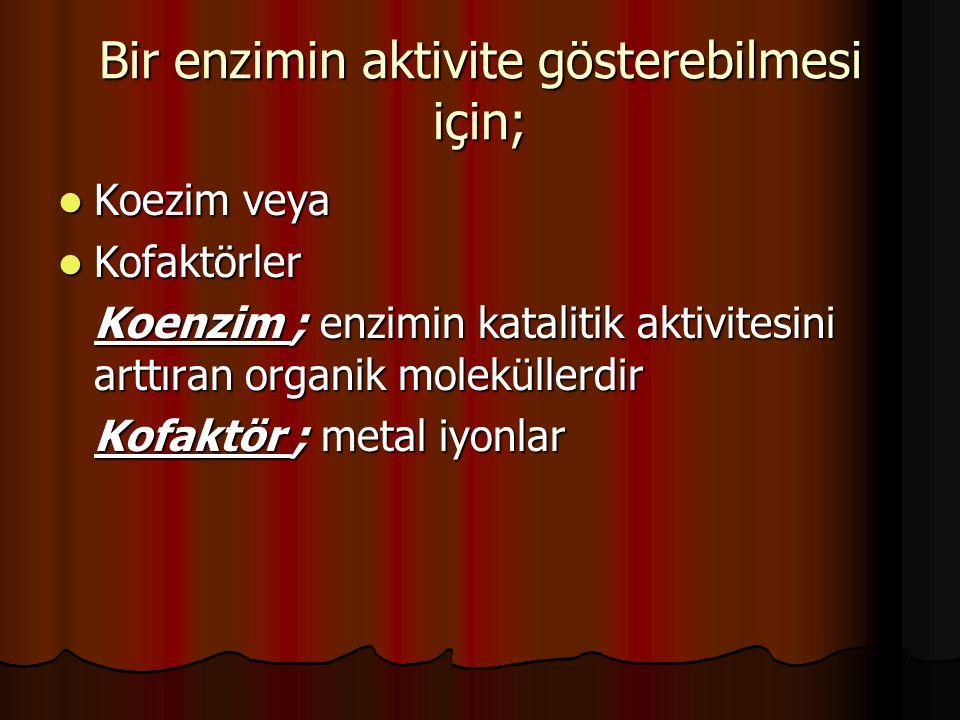 Bir enzimin aktivite gösterebilmesi için; Koezim veya Koezim veya Kofaktörler Kofaktörler Koenzim ; enzimin katalitik aktivitesini arttıran organik moleküllerdir Kofaktör ; metal iyonlar