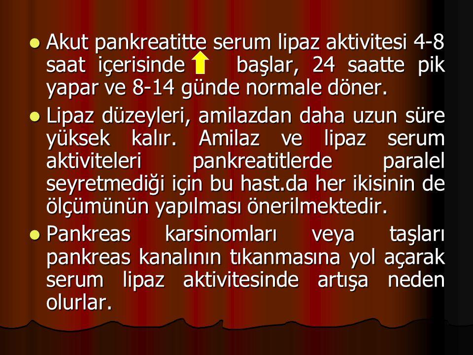 Akut pankreatitte serum lipaz aktivitesi 4-8 saat içerisinde başlar, 24 saatte pik yapar ve 8-14 günde normale döner.