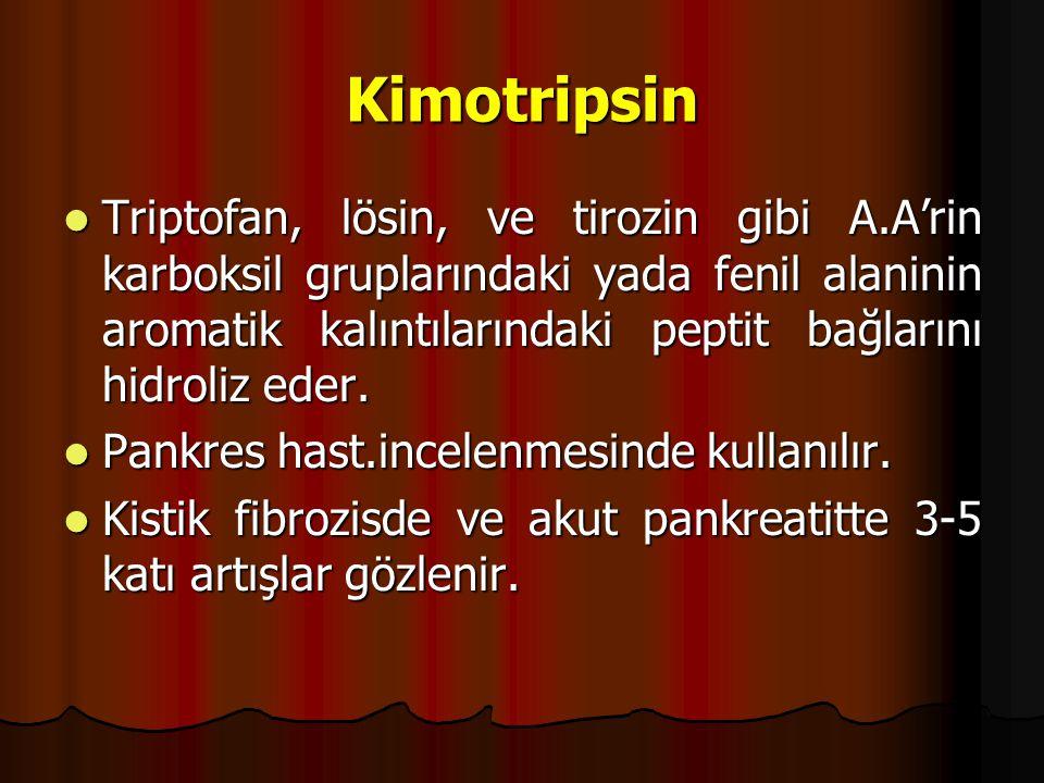 Kimotripsin Triptofan, lösin, ve tirozin gibi A.A'rin karboksil gruplarındaki yada fenil alaninin aromatik kalıntılarındaki peptit bağlarını hidroliz eder.