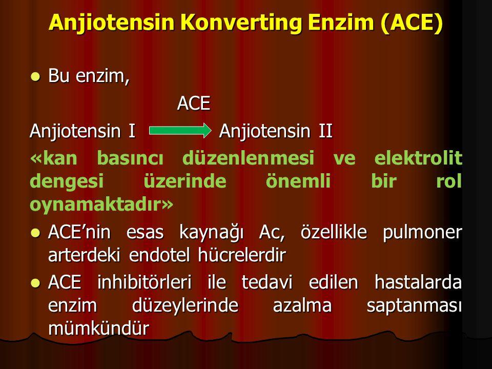 Anjiotensin Konverting Enzim (ACE) Bu enzim, Bu enzim,ACE Anjiotensin I Anjiotensin II «kan basıncı düzenlenmesi ve elektrolit dengesi üzerinde önemli bir rol oynamaktadır» ACE'nin esas kaynağı Ac, özellikle pulmoner arterdeki endotel hücrelerdir ACE'nin esas kaynağı Ac, özellikle pulmoner arterdeki endotel hücrelerdir ACE inhibitörleri ile tedavi edilen hastalarda enzim düzeylerinde azalma saptanması mümkündür ACE inhibitörleri ile tedavi edilen hastalarda enzim düzeylerinde azalma saptanması mümkündür
