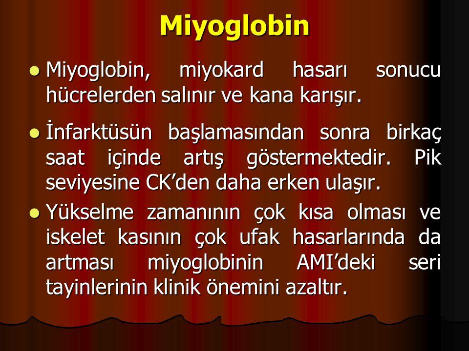 Miyoglobin Miyoglobin, miyokard hasarı sonucu hücrelerden salınır ve kana karışır.