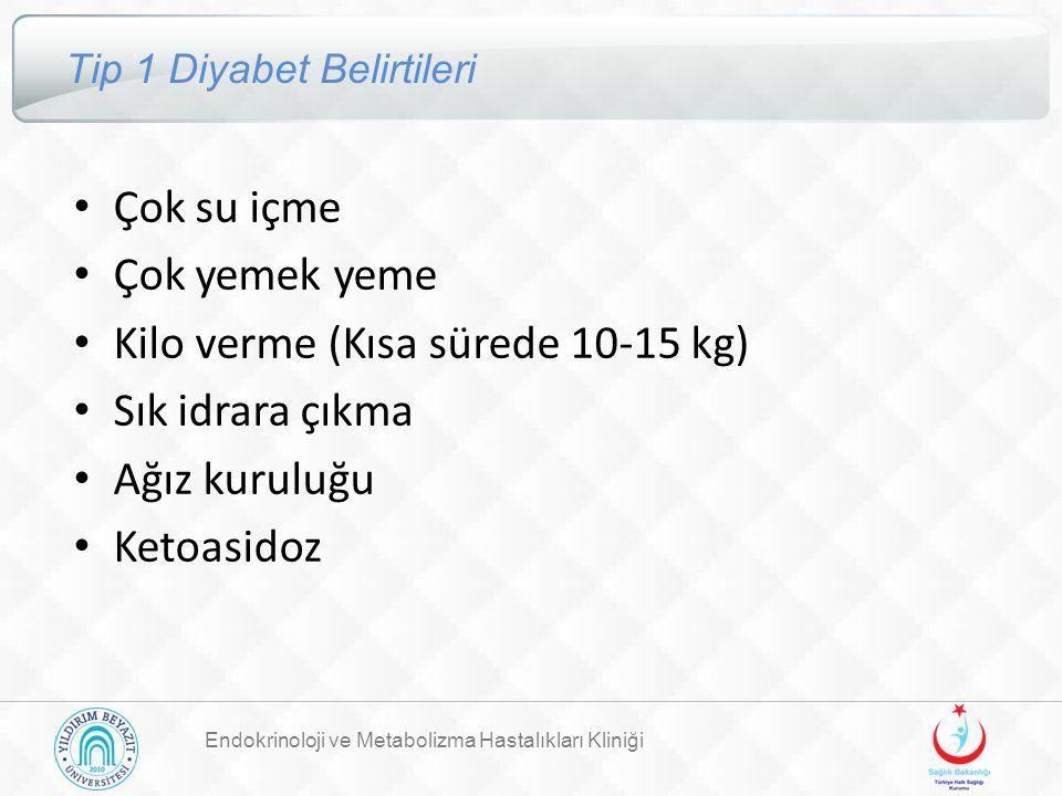 Endokrinoloji ve Metabolizma Hastalıkları Kliniği Tip 1 Diyabet Belirtileri Çok su içme Çok yemek yeme Kilo verme (Kısa sürede 10-15 kg) Sık idrara çı