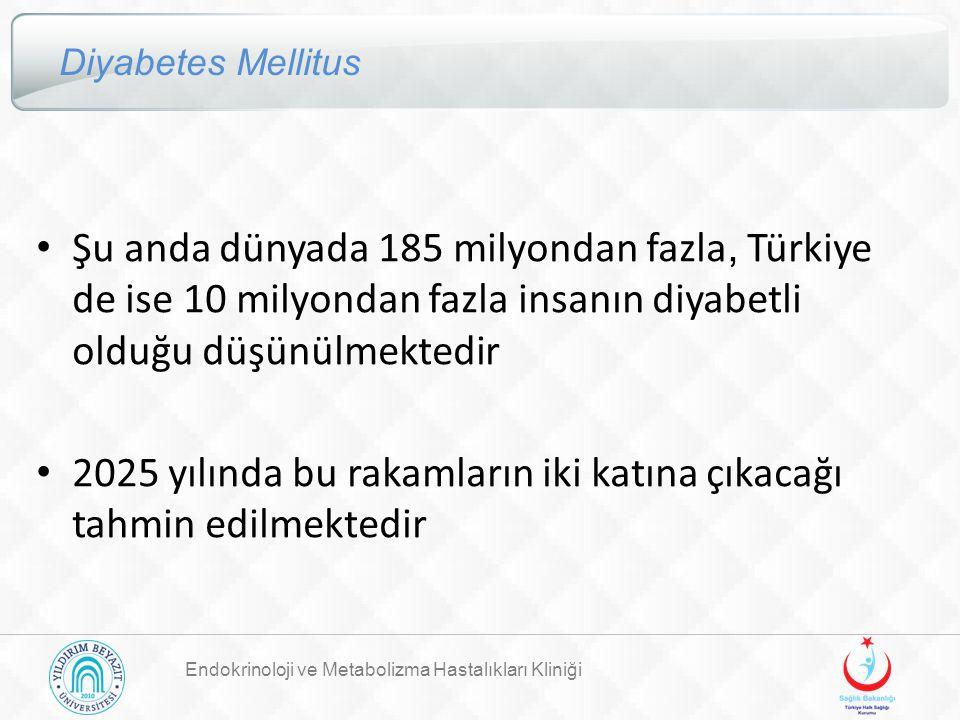 Endokrinoloji ve Metabolizma Hastalıkları Kliniği Diyabetes Mellitus Şu anda dünyada 185 milyondan fazla, Türkiye de ise 10 milyondan fazla insanın di