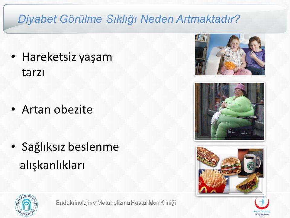 Endokrinoloji ve Metabolizma Hastalıkları Kliniği Diyabet Görülme Sıklığı Neden Artmaktadır? Hareketsiz yaşam tarzı Artan obezite Sağlıksız beslenme a