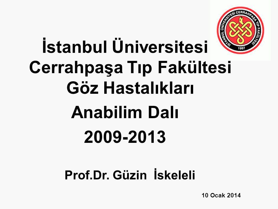 İstanbul Üniversitesi Cerrahpaşa Tıp Fakültesi Göz Hastalıkları Anabilim Dalı 2009-2013 Prof.Dr.