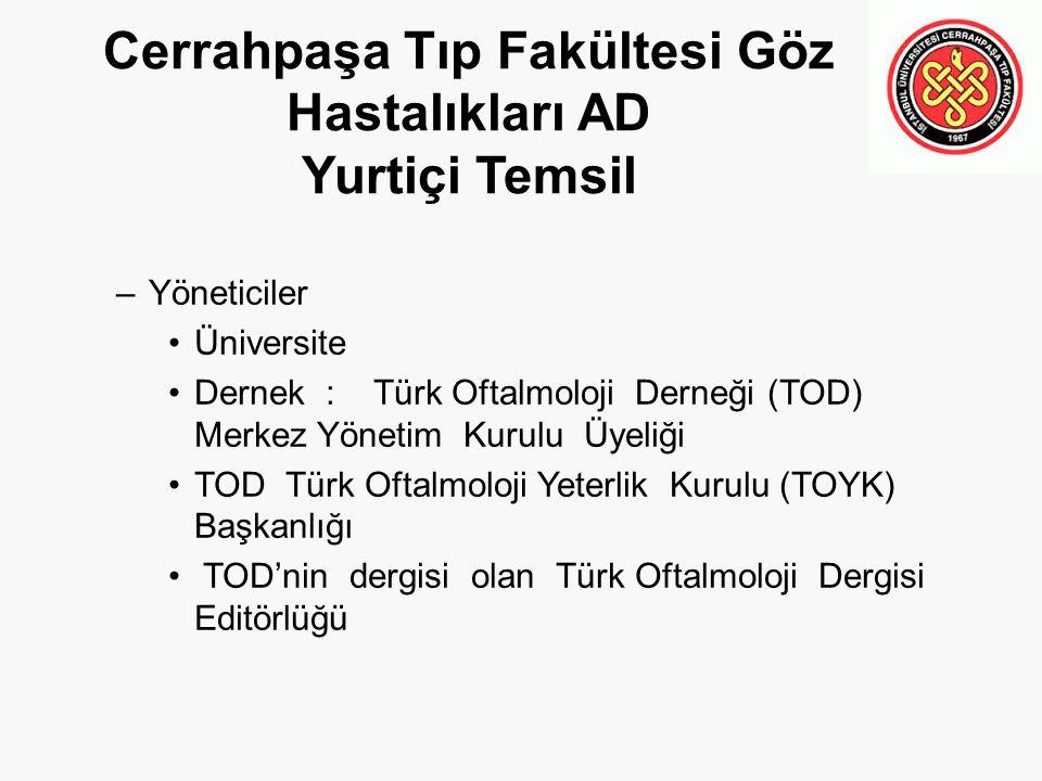 Cerrahpaşa Tıp Fakültesi Göz Hastalıkları AD Yurtiçi Temsil –Yöneticiler Üniversite Dernek : Türk Oftalmoloji Derneği (TOD) Merkez Yönetim Kurulu Üyel