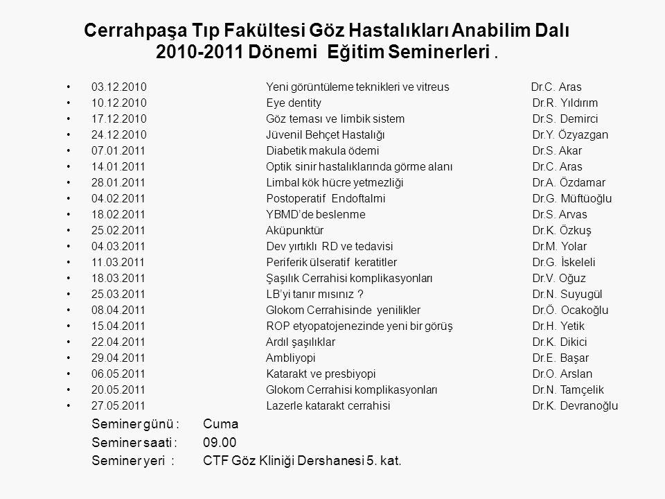 Cerrahpaşa Tıp Fakültesi Göz Hastalıkları Anabilim Dalı 2010-2011 Dönemi Eğitim Seminerleri.