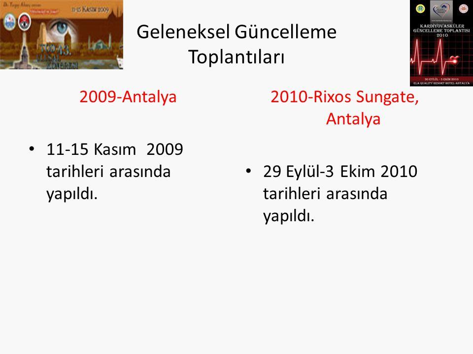 Geleneksel Güncelleme Toplantıları 2009-Antalya 11-15 Kasım 2009 tarihleri arasında yapıldı. 2010-Rixos Sungate, Antalya 29 Eylül-3 Ekim 2010 tarihler
