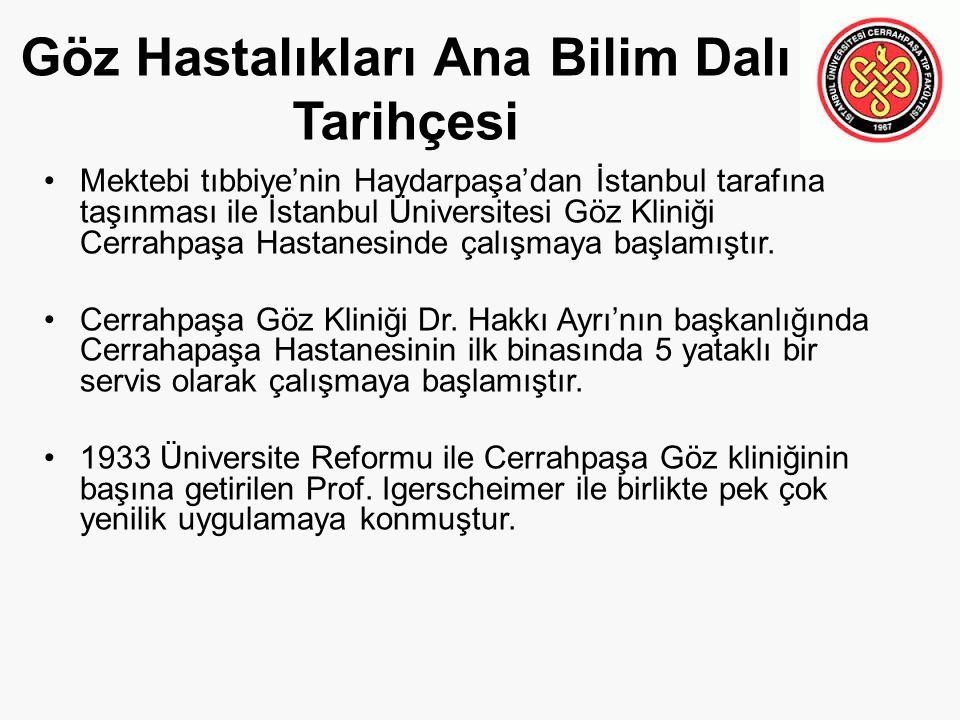 Göz Hastalıkları Ana Bilim Dalı Tarihçesi Mektebi tıbbiye'nin Haydarpaşa'dan İstanbul tarafına taşınması ile İstanbul Üniversitesi Göz Kliniği Cerrahpaşa Hastanesinde çalışmaya başlamıştır.