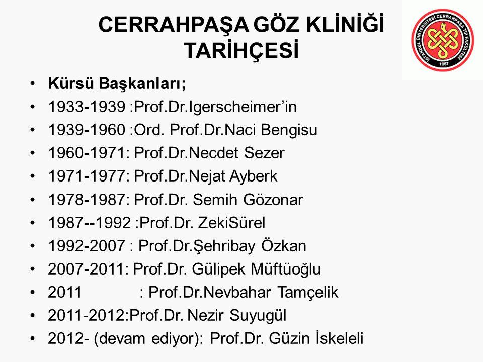 CERRAHPAŞA GÖZ KLİNİĞİ TARİHÇESİ Kürsü Başkanları; 1933-1939 :Prof.Dr.Igerscheimer'in 1939-1960 :Ord. Prof.Dr.Naci Bengisu 1960-1971: Prof.Dr.Necdet S
