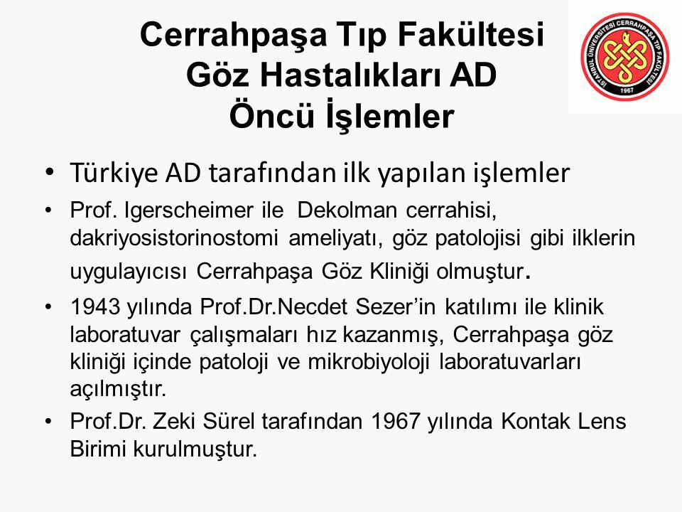 Cerrahpaşa Tıp Fakültesi Göz Hastalıkları AD Öncü İşlemler Türkiye AD tarafından ilk yapılan işlemler Prof. Igerscheimer ile Dekolman cerrahisi, dakri