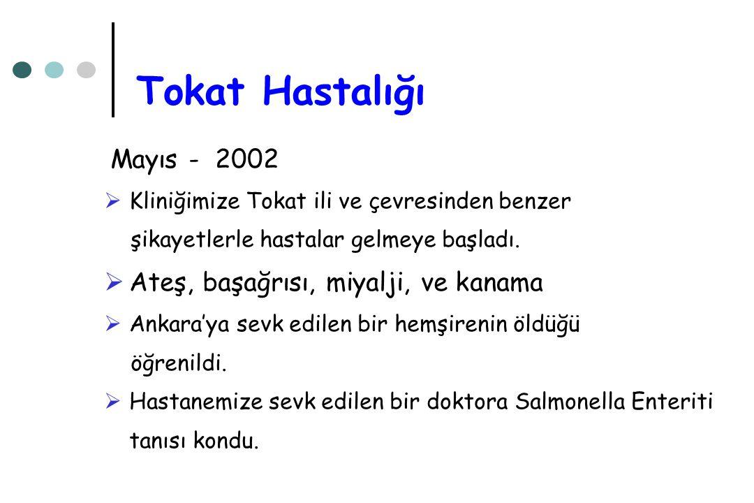 Mayıs - 2002  Kliniğimize Tokat ili ve çevresinden benzer şikayetlerle hastalar gelmeye başladı.  Ateş, başağrısı, miyalji, ve kanama  Ankara'ya se
