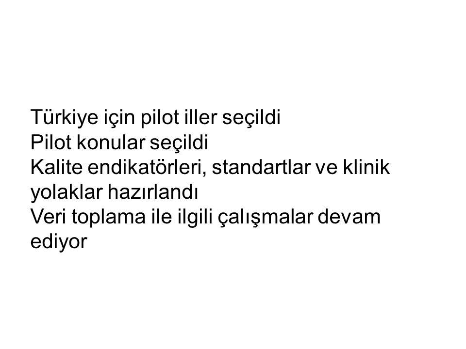 Türkiye için pilot iller seçildi Pilot konular seçildi Kalite endikatörleri, standartlar ve klinik yolaklar hazırlandı Veri toplama ile ilgili çalışma