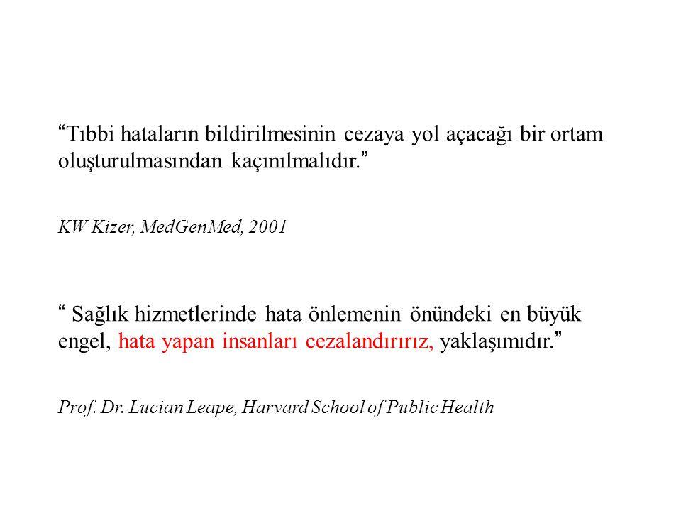 """"""" Tıbbi hataların bildirilmesinin cezaya yol açacağı bir ortam oluşturulmasından kaçınılmalıdır. """" KW Kizer, MedGenMed, 2001 """" Sağlık hizmetlerinde ha"""