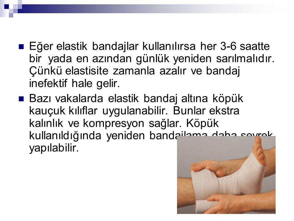 Eğer elastik bandajlar kullanılırsa her 3-6 saatte bir yada en azından günlük yeniden sarılmalıdır. Çünkü elastisite zamanla azalır ve bandaj inefekti