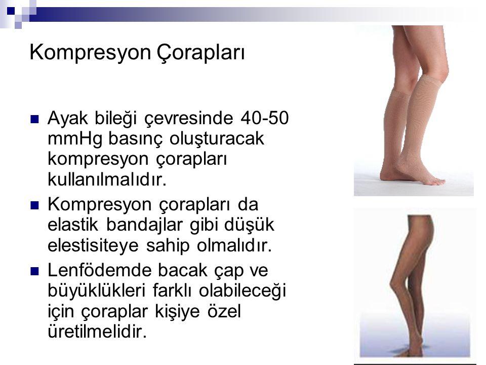 Kompresyon Çorapları Ayak bileği çevresinde 40-50 mmHg basınç oluşturacak kompresyon çorapları kullanılmalıdır. Kompresyon çorapları da elastik bandaj