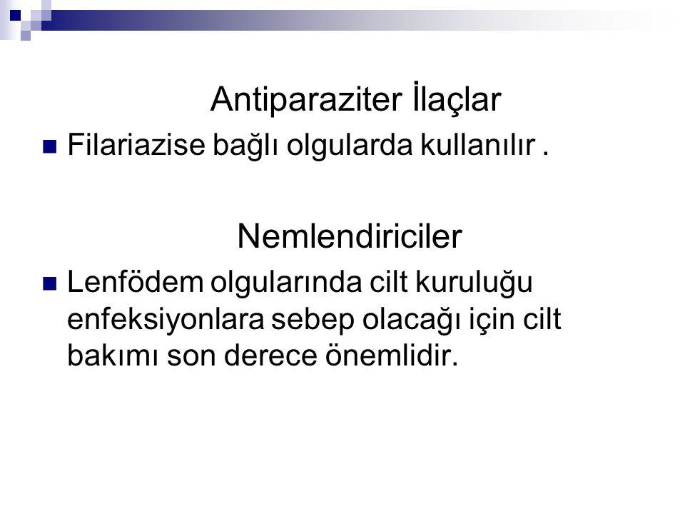 Antiparaziter İlaçlar Filariazise bağlı olgularda kullanılır. Nemlendiriciler Lenfödem olgularında cilt kuruluğu enfeksiyonlara sebep olacağı için cil