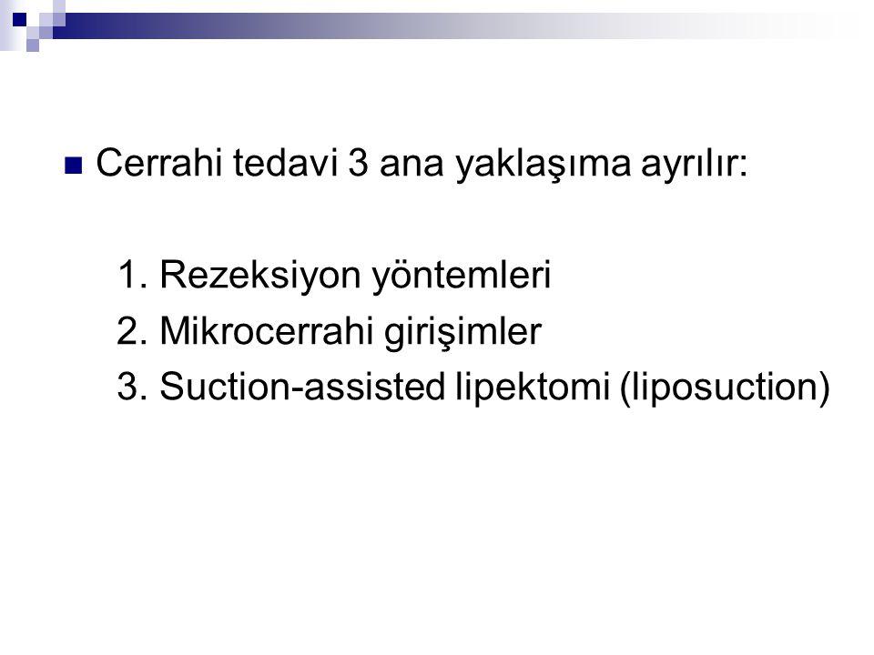 Cerrahi tedavi 3 ana yaklaşıma ayrılır: 1. Rezeksiyon yöntemleri 2. Mikrocerrahi girişimler 3. Suction-assisted lipektomi (liposuction)