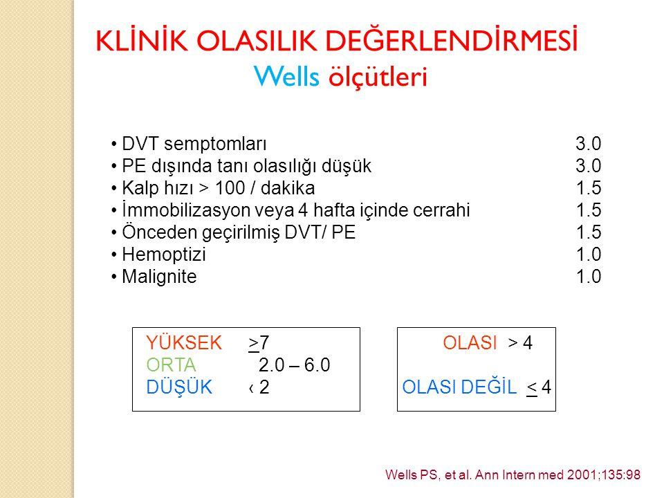 KL İ N İ K OLASILIK DE Ğ ERLEND İ RMES İ Wells ölçütleri DVT semptomları3.0 PE dışında tanı olasılığı düşük3.0 Kalp hızı > 100 / dakika1.5 İmmobilizas