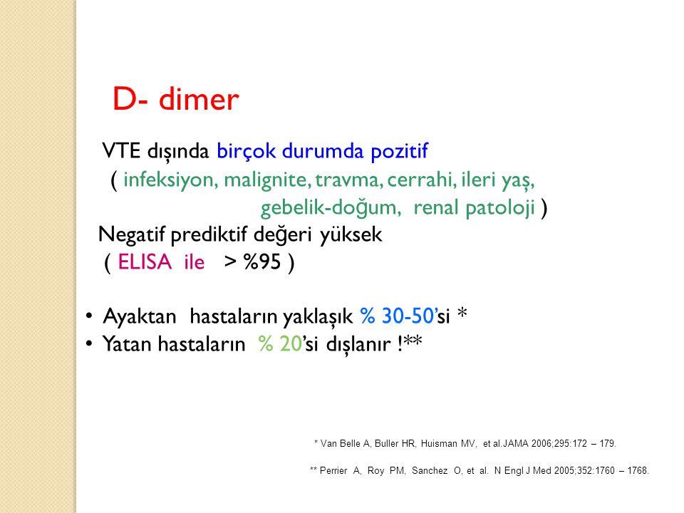 D- dimer VTE dışında birçok durumda pozitif ( infeksiyon, malignite, travma, cerrahi, ileri yaş, gebelik-do ğ um, renal patoloji ) Negatif prediktif d