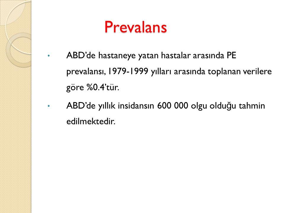 Epidemiyoloji Proksimal DVT' li olguların yaklaşık %50' sinde, genellikle asemptomatik seyreden, V/P sintigrafisinde saptanan PE vardır.