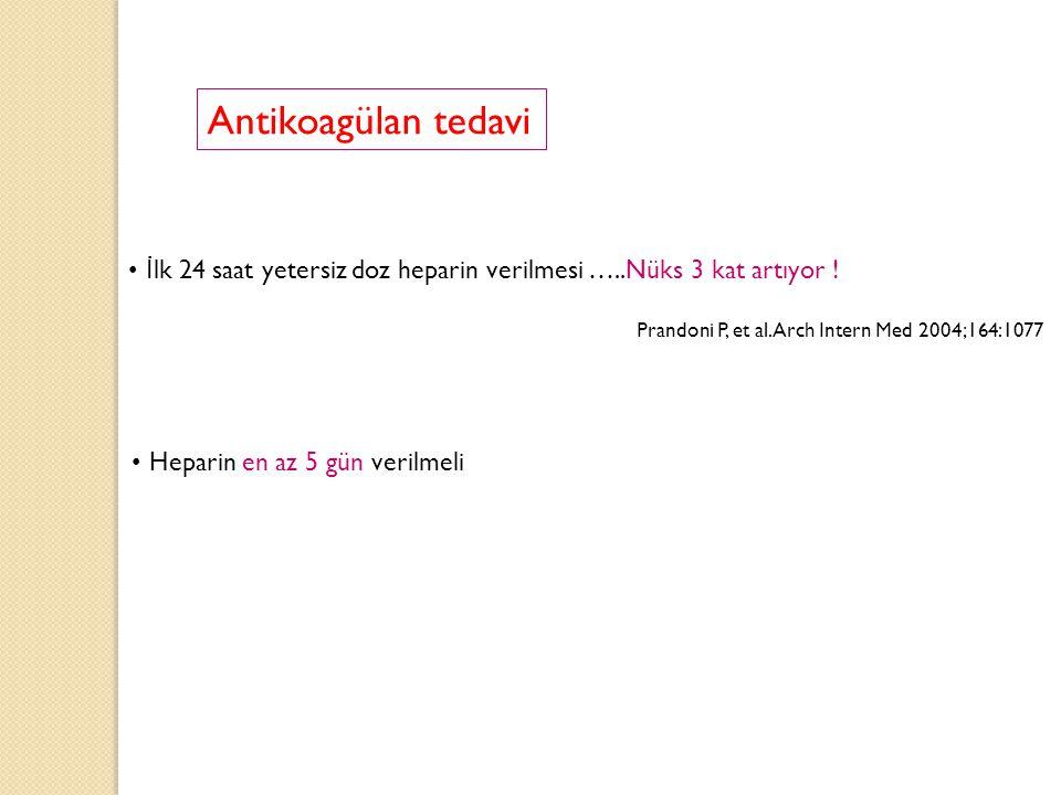 İ lk 24 saat yetersiz doz heparin verilmesi …..Nüks 3 kat artıyor ! Prandoni P, et al.Arch Intern Med 2004;164:1077 Heparin en az 5 gün verilmeli Anti