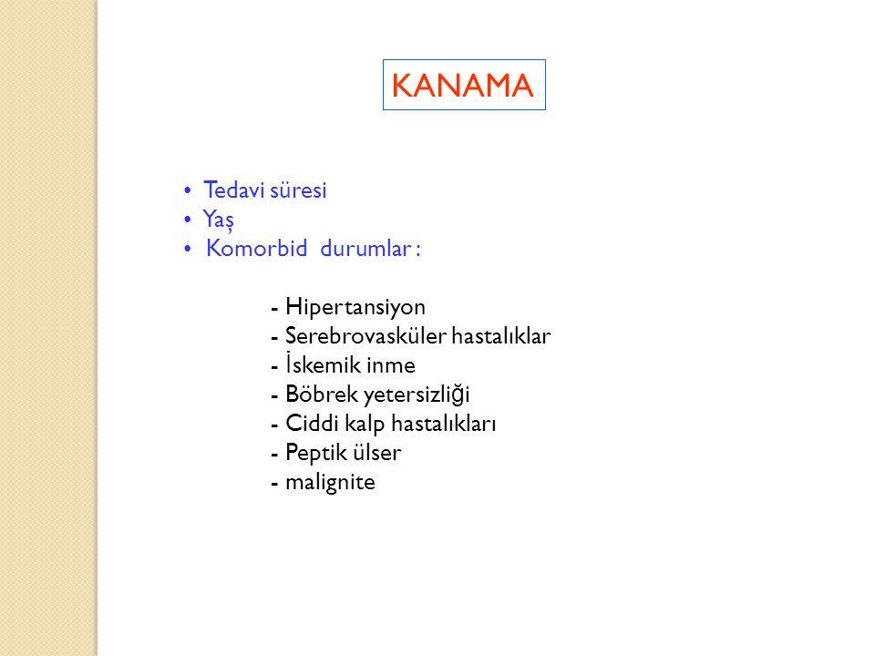 KANAMA Tedavi süresi Yaş Komorbid durumlar : - Hipertansiyon - Serebrovasküler hastalıklar - İ skemik inme - Böbrek yetersizli ğ i - Ciddi kalp hastal