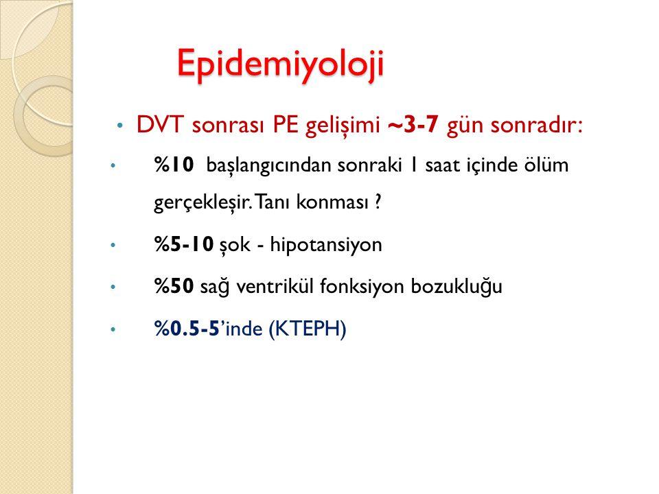 Epidemiyoloji DVT sonrası PE gelişimi ~3-7 gün sonradır: %10 başlangıcından sonraki 1 saat içinde ölüm gerçekleşir. Tanı konması ? %5-10 şok - hipotan