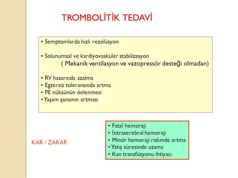 Semptomlarda hızlı rezolüsyon Solunumsal ve kardiyovasküler stabilizasyon ( Mekanik ventilasyon ve vazopressör deste ğ i olmadan) RV hasarında azalma
