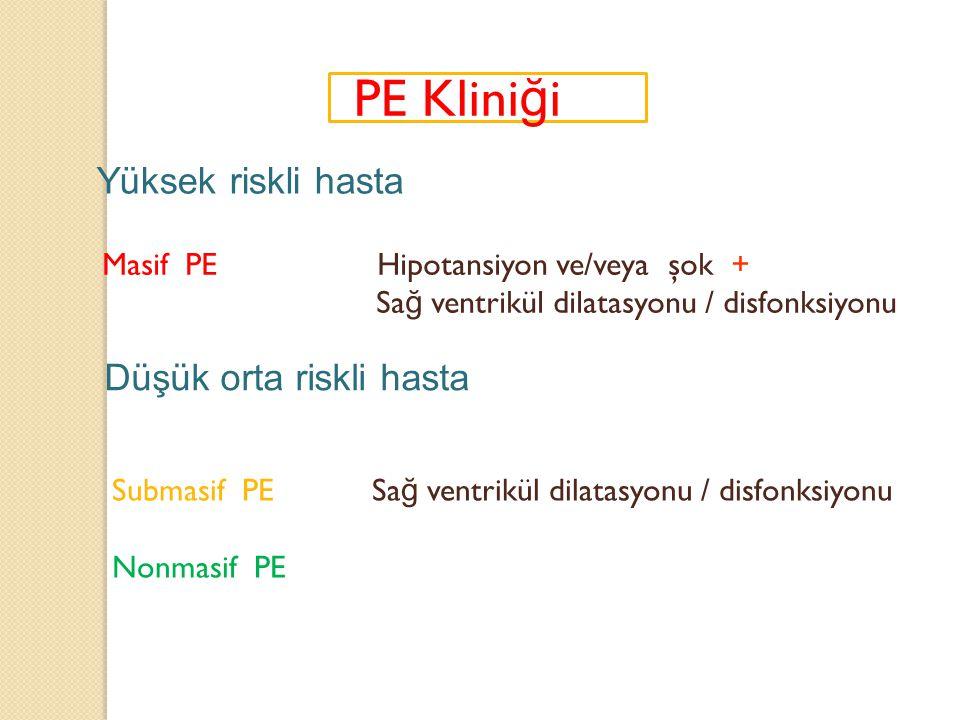 PE Klini ğ i Masif PE Hipotansiyon ve/veya şok + Sa ğ ventrikül dilatasyonu / disfonksiyonu Submasif PE Sa ğ ventrikül dilatasyonu / disfonksiyonu Non