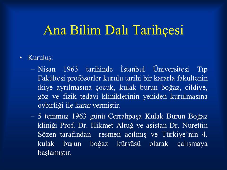 Ana Bilim Dalı Tarihçesi Kuruluş: –Nisan 1963 tarihinde İstanbul Üniversitesi Tıp Fakültesi profösörler kurulu tarihi bir kararla fakültenin ikiye ayr
