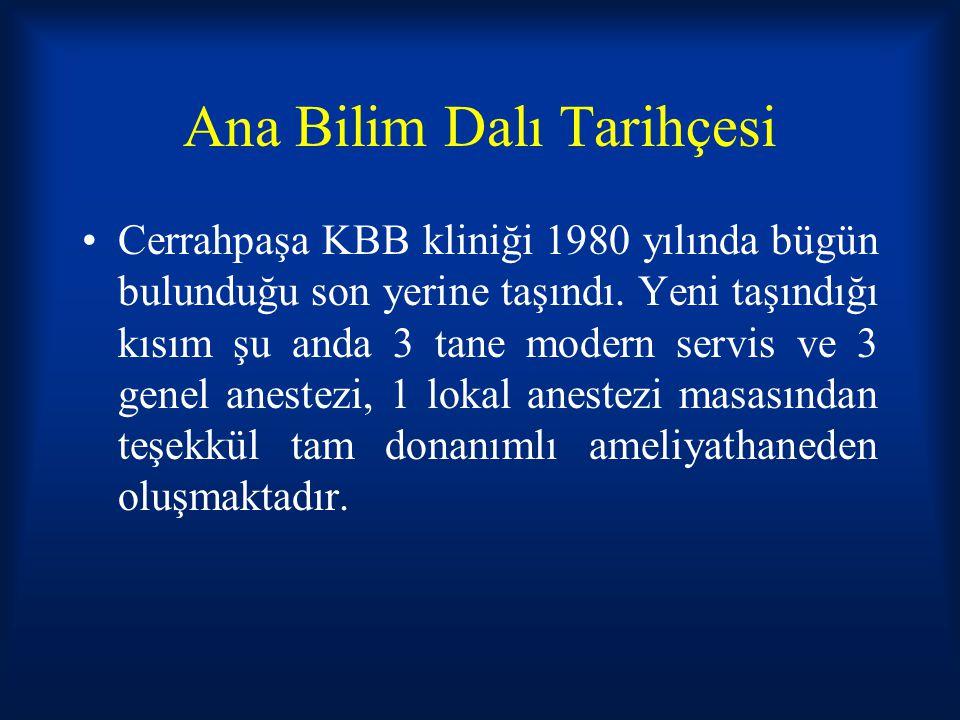 Ana Bilim Dalı Tarihçesi Cerrahpaşa KBB kliniği 1980 yılında bügün bulunduğu son yerine taşındı. Yeni taşındığı kısım şu anda 3 tane modern servis ve