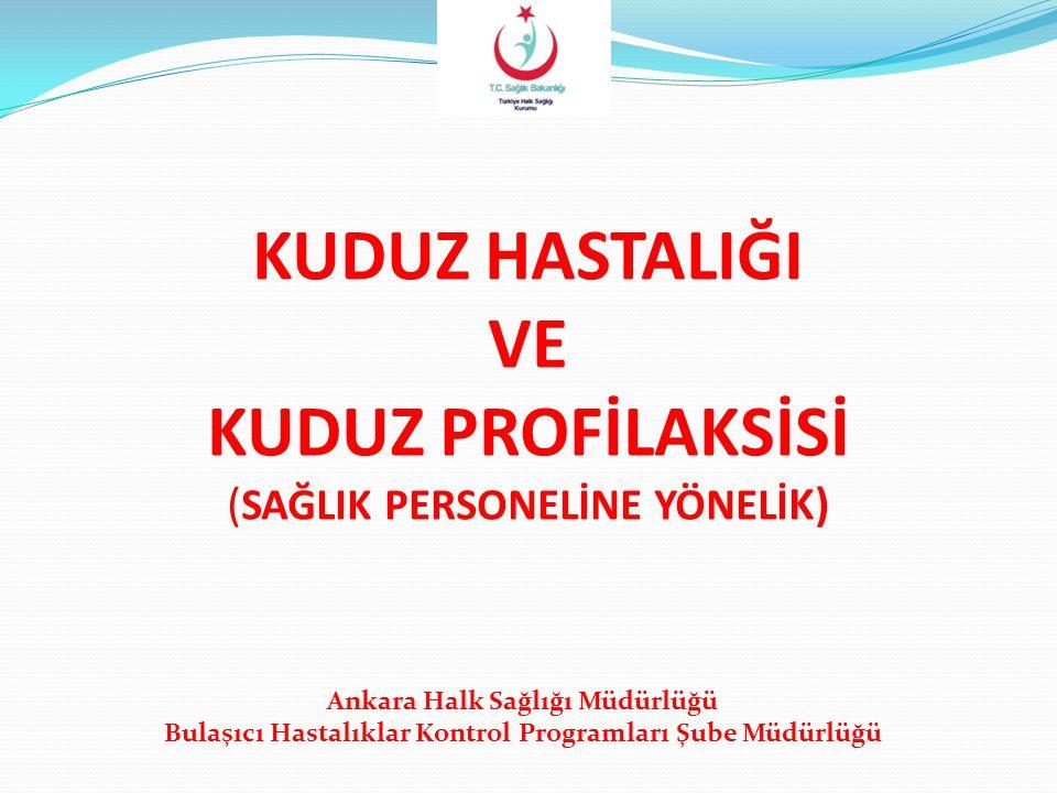 KUDUZ HASTALIĞI VE KUDUZ PROFİLAKSİSİ ( SAĞLIK PERSONELİNE YÖNELİ K) Ankara Halk Sağlığı Müdürlüğü Bulaşıcı Hastalıklar Kontrol Programları Şube Müdür