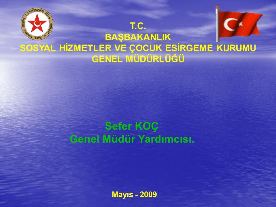 T.C. BAŞBAKANLIK SOSYAL HİZMETLER VE ÇOCUK ESİRGEME KURUMU GENEL MÜDÜRLÜĞÜ Mayıs - 2009 Sefer KOÇ Genel Müdür Yardımcısı.