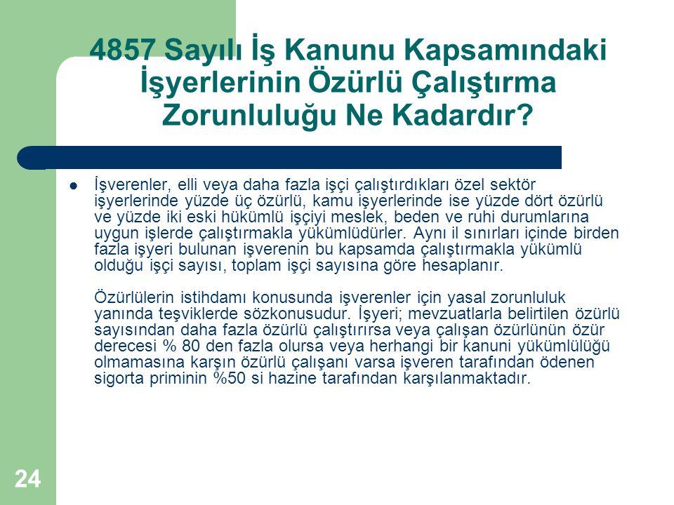 24 4857 Sayılı İş Kanunu Kapsamındaki İşyerlerinin Özürlü Çalıştırma Zorunluluğu Ne Kadardır? İşverenler, elli veya daha fazla işçi çalıştırdıkları öz