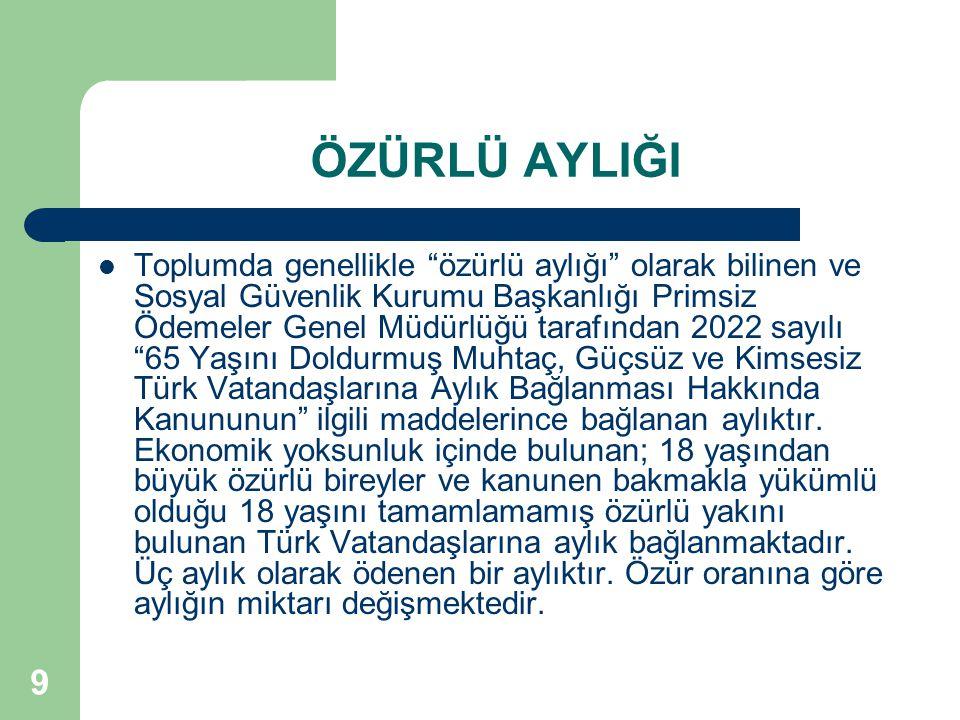 9 ÖZÜRLÜ AYLIĞI Toplumda genellikle özürlü aylığı olarak bilinen ve Sosyal Güvenlik Kurumu Başkanlığı Primsiz Ödemeler Genel Müdürlüğü tarafından 2022 sayılı 65 Yaşını Doldurmuş Muhtaç, Güçsüz ve Kimsesiz Türk Vatandaşlarına Aylık Bağlanması Hakkında Kanununun ilgili maddelerince bağlanan aylıktır.