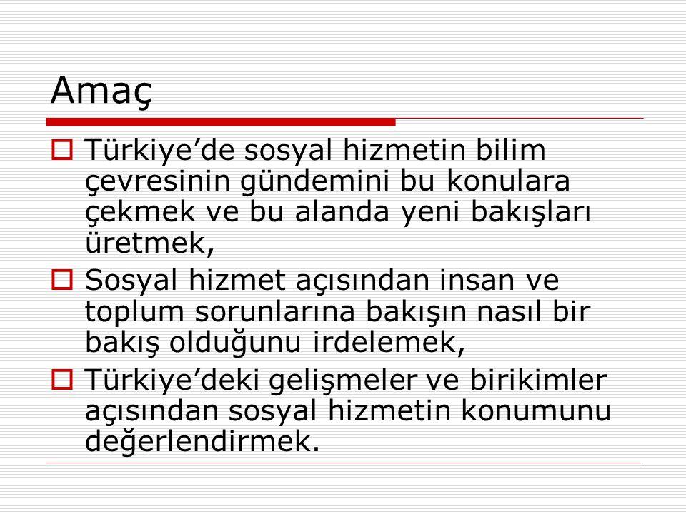 Amaç  Türkiye'de sosyal hizmetin bilim çevresinin gündemini bu konulara çekmek ve bu alanda yeni bakışları üretmek,  Sosyal hizmet açısından insan v