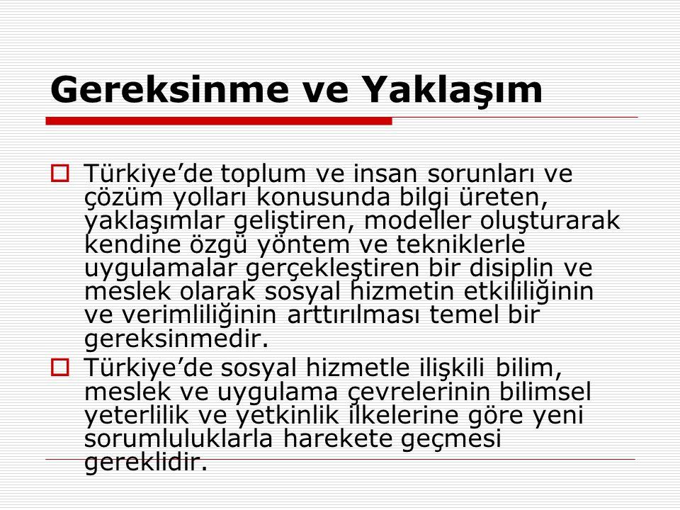 Gelişme için Stratejik Amaçlar  1.Türkiye'de ekonomik ve sosyal bunalım karşısında sosyal hizmetin bilimsel ve mesleki rolünün geliştirilmesi,  2.Gelir ve hizmetlerin dağılımının iyileştirilmesi, yaşam niteliğinin toplum ve insan açısından geliştirilmesi,  3.Demokratikleşme sürecinde temel hak ve özgürlükler ile sosyal ve ekonomik haklardan tüm toplumu çalışanları ve hizmet kitlesini yararlandırılması,  4.Sosyal hizmetler alanlarında yapısal bütüncü, disiplinler arası ve sorun alanları düzeyinde geliştirilen yaklaşımlarla katılını ve örgütlenmenin yaygınlaştırılması, etkilik ve verimliliğin yükseltilmesi, sosyal devlet ilkesine göre çağdaş sosyal hizmetler sisteminin ve standartlarının geliştirilmesi  5.Türkiye'de sosyal bilimlerin güçlendirilmesine ve sosyal araştırmaların geliştirilmesine, yeni yaklaşım ve hizmet modellerinin oluşturulmasına Sosyal hizmet açısından katkı sağlanması.