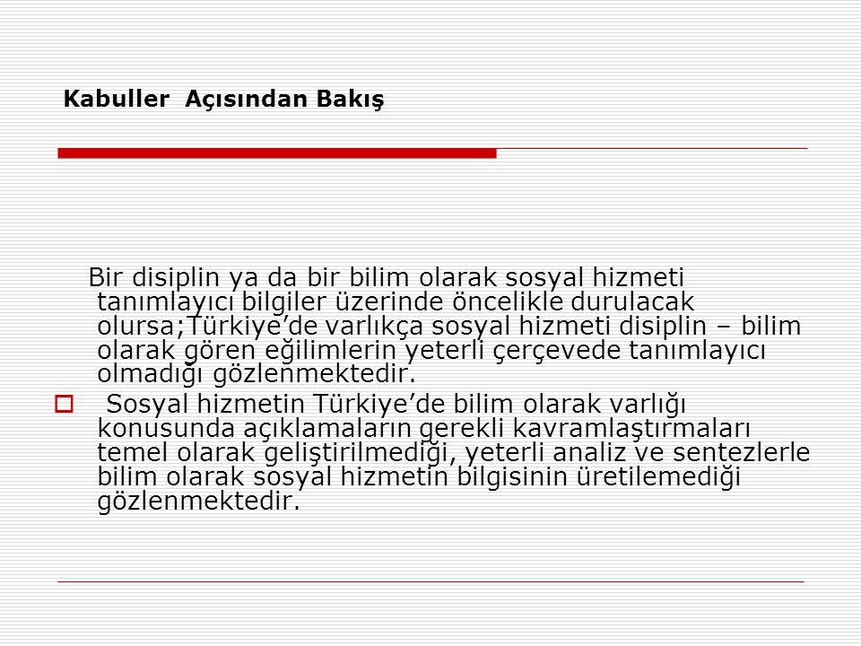 Kabuller Açısından Bakış Bir disiplin ya da bir bilim olarak sosyal hizmeti tanımlayıcı bilgiler üzerinde öncelikle durulacak olursa;Türkiye'de varlık