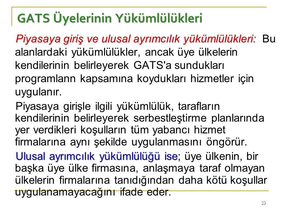 23 GATS Üyelerinin Yükümlülükleri Piyasaya giriş ve ulusal ayrımcılık yükümlülükleri: Piyasaya giriş ve ulusal ayrımcılık yükümlülükleri: Bu alanlarda