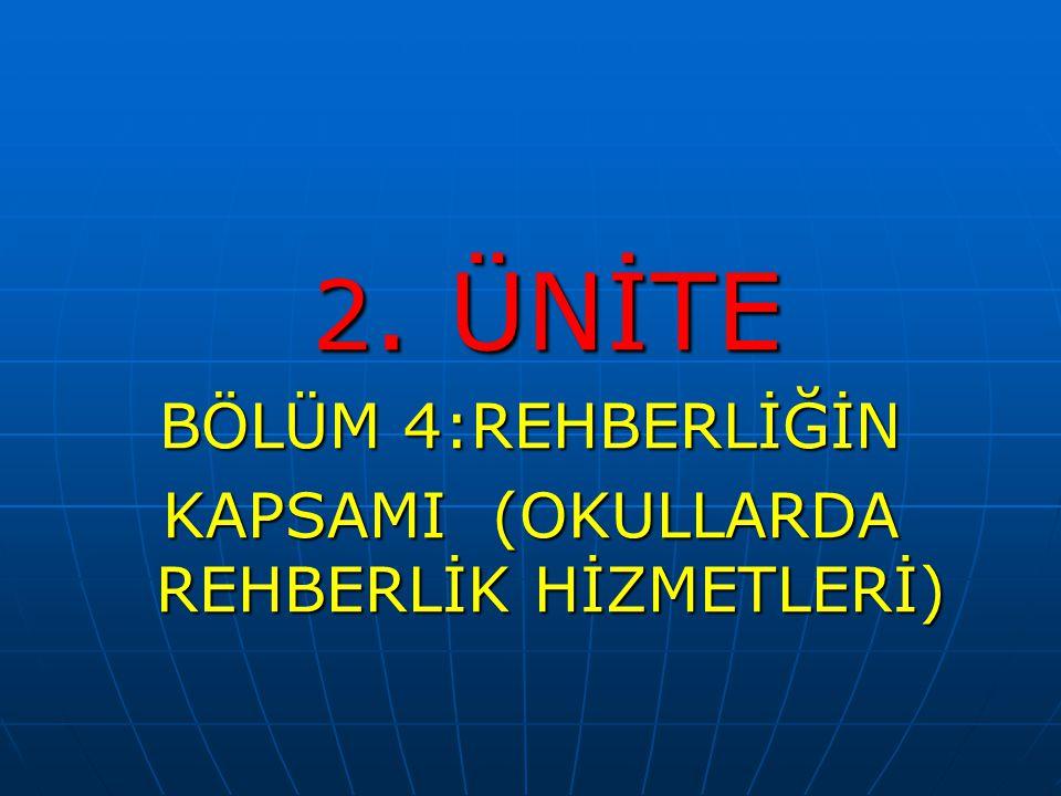 2. ÜNİTE 2. ÜNİTE BÖLÜM 4:REHBERLİĞİN KAPSAMI (OKULLARDA REHBERLİK HİZMETLERİ)