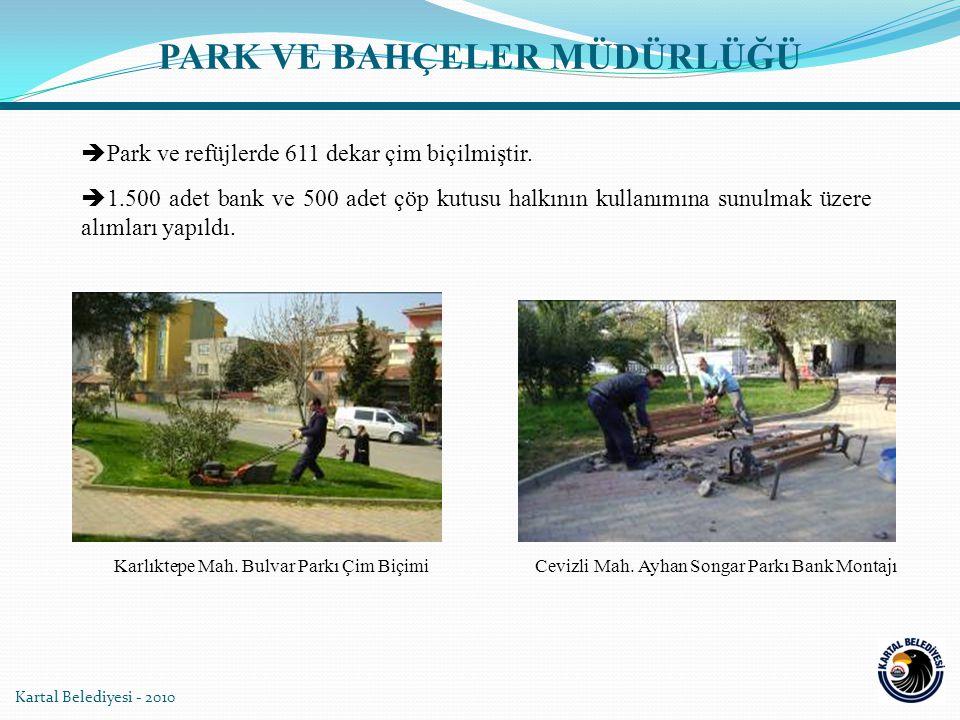 Kartal Belediyesi - 2010  Park ve refüjlerde 611 dekar çim biçilmiştir.  1.500 adet bank ve 500 adet çöp kutusu halkının kullanımına sunulmak üzere