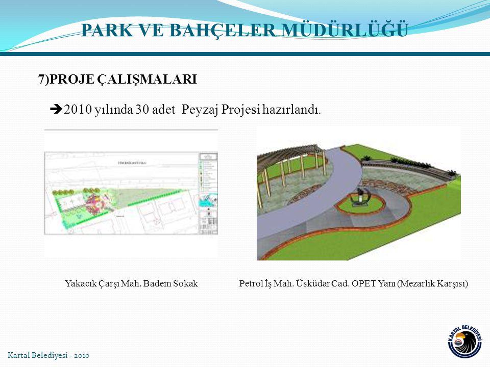 Kartal Belediyesi - 2010 PARK VE BAHÇELER MÜDÜRLÜĞÜ  2010 yılında 30 adet Peyzaj Projesi hazırlandı.